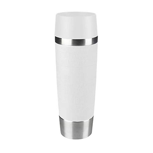 Emsa 515682 Isolierbecher Mobil genießen, 500 ml, Quick Press Verschluss, Travel Mug Grande, weiß