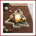 Weihnachtliches Windlicht Deko-Windlicht Weißtanne aus Holz mit Glaswindlicht und Kerze
