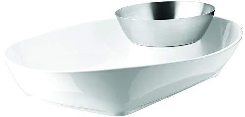 Umbra 461050-670 Chipster Chip und Dip Set, weiß/Nickel Chip Dip Set