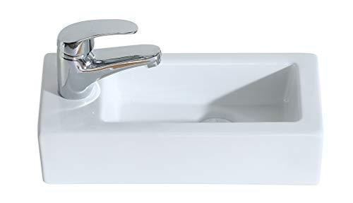 Eridanus, Serie Vento, lavabo montado en la pared, lavabo, lavabo sobre encimera, Lavabo de pared sobre encimera,izquierda,L37 x W18 x H9 cm