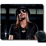 Custom Pop music star Mouse Pad with Kid Rock Glasses Chain Hair Cap Non-Slip Neoprene Rubber Standard Size 9 Inch(220mm) X 7 Inch(180mm) X 1/8 Inch(3mm) Desktop Mousepad Laptop Mousepads Comfortable Computer Mouse Mat