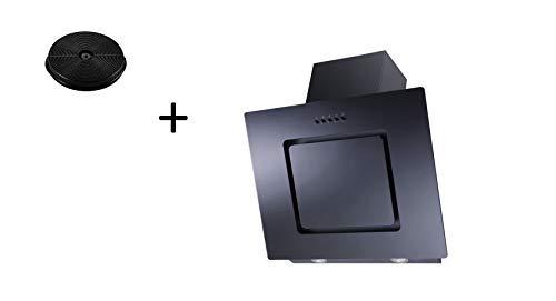 respekta Umluftset_CH22010SX+MIZ0031 Dunstabzugshaube Schräghaube kopffrei schwarz 60 cm + Aktivkohlefilter