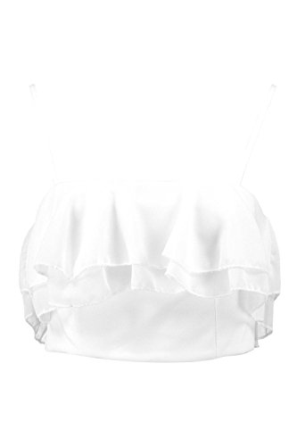 Blanc Femmes Nina Crop Ruffle Bralet Blanc