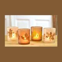 """Teelichthalter Kerzenhalter aus Glas """"Herbstlaub"""" 4er-Set von Pajoma - Lampenhans.de"""