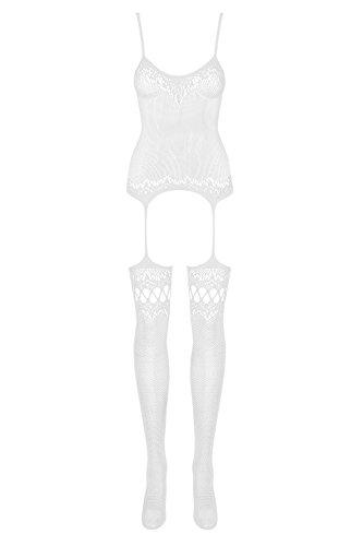 Obsessive Damen Bodystocking Weiß Weiß One size Gr. One size, Weiß - Weiß -