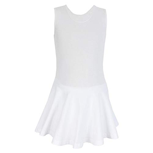 Aquarti Mädchen Ballett Trikot mit Rock breite Träger, Farbe: Weiß, Größe: 122 (Weiße Farbe Kleid Für Kinder)