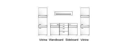 Wohnwand in weiß Hochglanz u. weiß glänzend mit 2 Vitrinen B: je 60 cm, 1 Wandboard B: 180 cm und 1 Sideboard B: 180 cm - 2