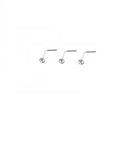 Mytoptrendz® Kristall-Nasenstecker, klein, klar, 3er Set, Sterlingsilber, dünne L-Form, 1,5mm oder 2mm zur Auswahl Gr. 2mm, clear crystal