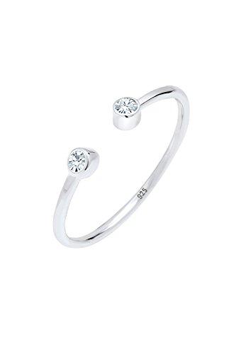 Elli Damen-Stapelring Solitär 925 Silber Kristall weiß Gr. 54 (17.2) - 0605420417_54