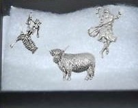 Gift Boxed Set of 3 Pewter Pin Badges-Scotland Bagpipes, Highland Cow,And Highlander. by Gr8selections