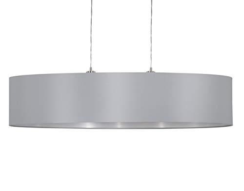 EGLO Pendellampe Maserlo, 2 flammige Textil Pendelleuchte, Hängeleuchte aus Stahl und Stoff, Farbe: Nickel matt, grau, silber, Fassung: E27, L: 100 cm