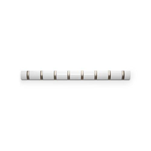 Umbra 318858-660 Flip Garderobenhakenleiste mit 8 Haken, weiß hochglanz