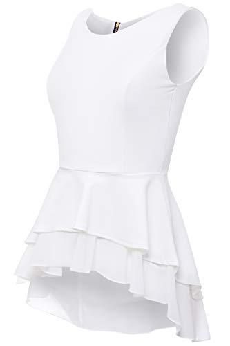 Laeticia Dreams Damen Bluse Schößchen S M L XL, Farbe:Weiss, Größe:36