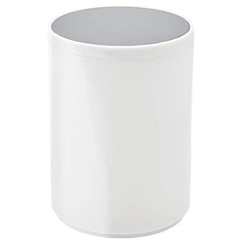 MDesign Cubo de Basura con Tapa basculante para baño o Cocina - Papelera Redonda de Metal para desechos...