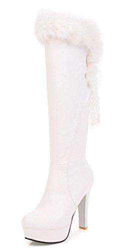 SHOWHOW Damen Plateau Flauschig Langschaft Stiefel Schaftstiefel Mit Absatz Weiß 41 - Flauschige Weiß Stiefel