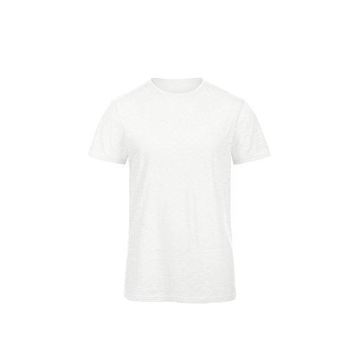 B&C Slub Ökobaumwolle Herren T-shirt Weiß