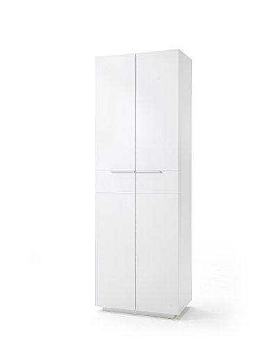 Robas Lund, Schrank, Garderobenschrank, Canberra, Hochglanz/weiß, 70 x 204 x 41 cm, CAN44T83