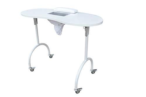 Polironeshop jewel tavolo pieghevole per manicure ricostruzione unghie nail art (bianco)