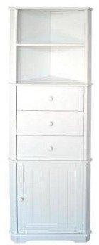 White Shelf Cupboard and Drawer Corner Unit Furniture