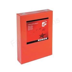 5Star farbiges Kopierpapier multifunktional, eingeriest 80g/m² A4Deep Red [500Blatt]