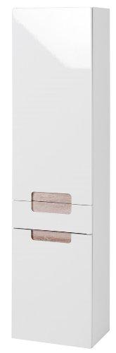 Held Möbel 315.3022 Siena Seitenschrank 2-türig 1 Schubkasten, 3 Einlegeböden, 40 x 154 x 27 cm, Hochglanz-weiß Eiche-Sonoma