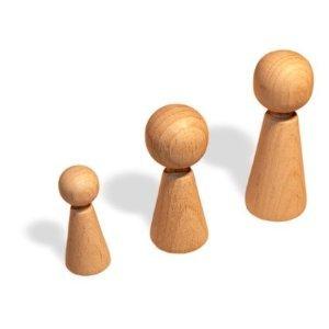 25 Stück Figurenkegel aus Holz 60 mm konisch