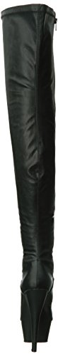 Pleaser KISS-3000, Damen Over-Knee Stiefel Blk Faux Leather/Blk Matte