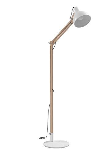Viugreum Stehlampe Stehleuchte Standleuchte Holz Metall Höhenverstellbar, Stabilität Stehlampe für Wohnzimmer und Schlafzimmer (Weiß)