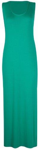 Purple Hanger - Damen Maxi Kleid U-Ausschnitt Trikot Racerback Ärmelloses Stretch Maxi Trägerkleid Vert Jade