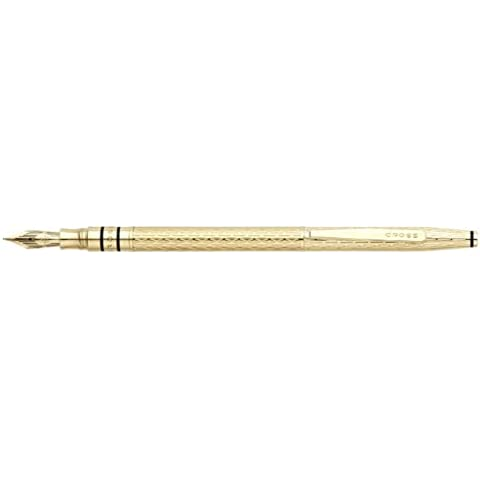 Cross Spire, Golden Shimmer, Fountain Pen with Golden Shimmer Polished PVD Solid 18K Gold Nib, Medium (AT0566-2MD) by Cross
