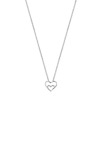 Xenox Schmuck Damen Halskette mit Herz Anhänger aus 925 Silber mit Zirkonia XS2794