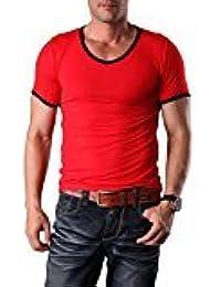 EDTara Men's Casual Sleepwear Lounge Hit Color Short Sleeve Round Neck Slim Top Shirt Pajama Red Red Asia 3XL