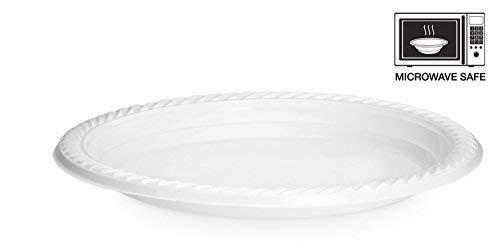 100 Stück Starke Qualität Einweg Kunststoff Plastik Teller/Schüsseln mikrowellengeeignet, weiß, 9 Inch - 22cm.