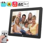 12.1 inch TFT LCD Display Multi-media Digital Photo Frame with Music & Movie Player / Remote Control Function, Support USB / SD Card Input, Built in Stereo Speaker(Black)