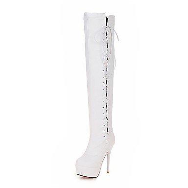 RTRY Scarpe da donna in similpelle di caduta di primavera novità moda Stivali Stivali Stiletto Heel Round Toe stivali Thigh-High Lace-Up per Party & Sera US12 / EU44 / UK10 / CN46