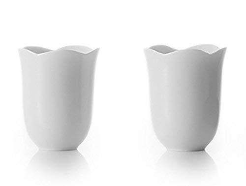 ZENS Lot de 2, Set de thé en Porcelaine Fine,Set de Tasse en Porcelaine, Tasse à thé en Porcelaine translucide Blanche, 200ml, en Forme d'une Fleur