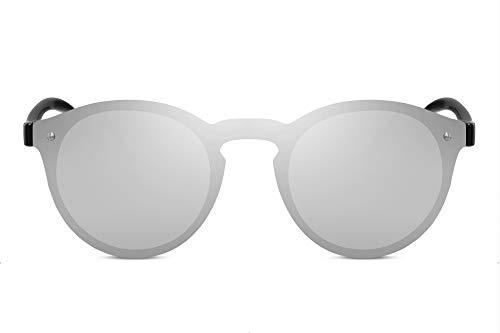 Cheapass Rund-e Sonnenbrille Verspiegelt Silber-n UV-400 Durchgehend Einteilig Flach Plastik Damen Herren