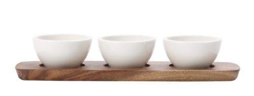 Villeroy & Boch Artesano Original Dipschälchen Set: 3 weiße Dipschälchen aus hochwertigem Premium Porcelain und Holztablett / 1 x Dipschalen Set (4-tlg)