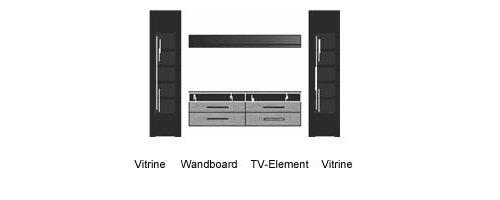 Wohnwand in Silbereiche-NB mit Abs. in Schwarzglas mit 2 Vitrinen, Wandboard und TV-Element, Gesamtmaße: B/H/T ca. 275/199/45 cm - 2