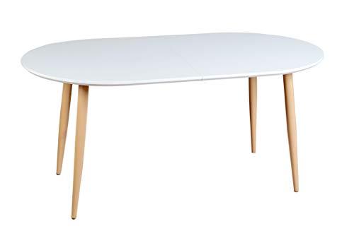 Enrico Coveri Contemporary Tavolo Moderno Allungabile in Legno Bianco, Ideale per Cucina, Sala da Pranzo e Salone (Bianco Ovale)