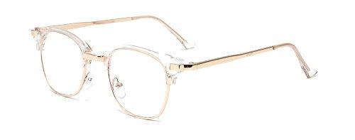 ALWAYSUV durchsichtige Brillenfassung Metal-Bügel Klassische Brille Clear Lens Glasses 40er Jahre Retro Brillen Fashion Glasses