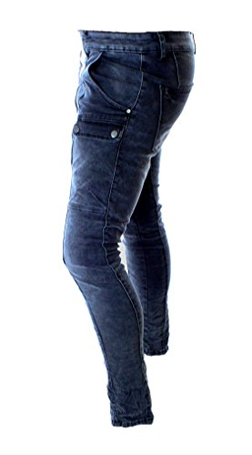Lexxury Damen Denim Hose Baggy Boyfriend Style Jeans Stretch Cargo Denim  Blau