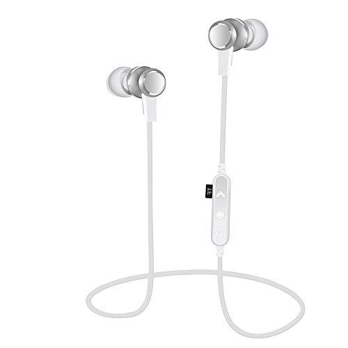 Bluetooth Kopfhörer Wireless Bluetooth Sport BT4.2 TF MP3 Flash-Speicherkarte SD-Karte Stereo Sport Kopfhörer Kopfhörer In-Ear Headset Sport Ohrhörer Klangqualität Kopfhörer Ohrhörer (Silver)