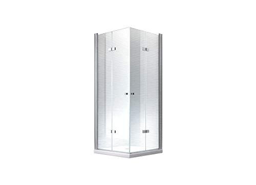 80x80x180cm Hera Falttür Duschkabine Dusche Duschabtrennung - 8mm - ESG-Glas - Hohe Qualität (ohne Duschtasse)