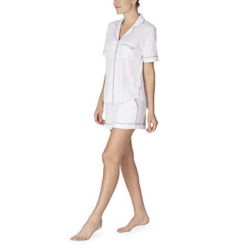 Dkny-pyjama (DKNY Signature Schlafanzug-Set, kurzes Strick-Logo, Weiß Gr. Small, weiß)