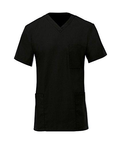 Chic schwarz Smart Krankenhaus Scrub Top-Tunika Unisex Ärzte Work Wear