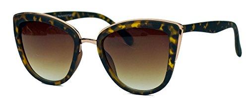Moderne Cat Eye Damen Sonnenbrille im Designer Stil PR16 (Horn/Braun)