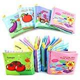 Xiaoyu Baby Tuch Bücher, Baby erste Buch, nicht toxische Stoff bunte Kinder pädagogische weichen Tuch Bücher Spielzeug, Baby-Dusche Spielzeug für Jungen und Mädchen, Packung mit 4, style2 (Für Baby-bücher Baby-dusche)