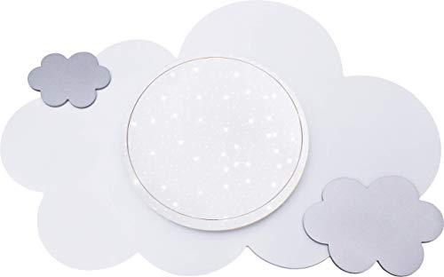 Elobra Wolke Starlight-Effekt LED Deckenleuchte für Kinder, Farbton einstellbar, Holz, weiß/silber, 75 x 50 x 8 cm