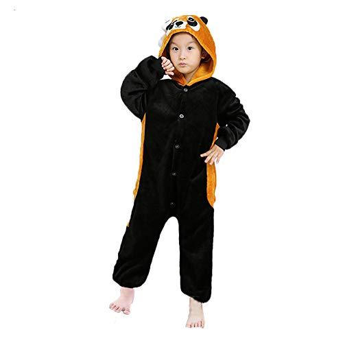 Z-Chen - Kinder Pyjama Strampler Schlafanzug Tier Kostüm für Halloween Karneval Fasching, Waschbär Kostüm, Gr. 92/98 (Herstellergröße 85/100)